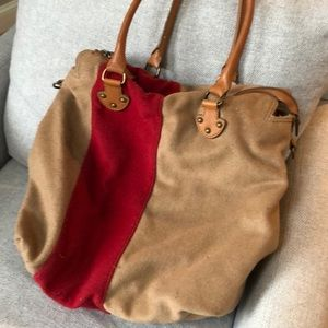 Wool tote style purse .